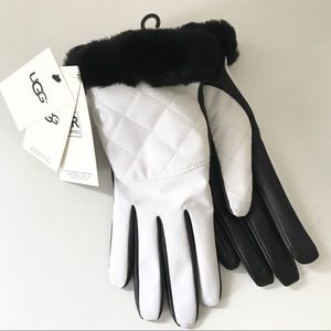 UGG White and Black Gloves Water Resistant Leather